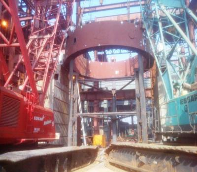 Trunnion ring assembly for Converter-1 at SMS 3 complex on 11 November 2014 at SAIL's Bhilai Steel Plant