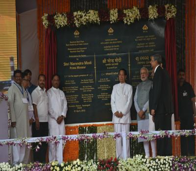 Shri Narendra Modi, Prime Minister, dedicating to the Nation SAIL's Modernised and Expanded Rourkela Steel Plant on 1st April 2015.
