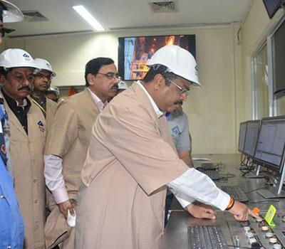 Shri Dharmendra Pradhan ,Union minister of Steel, starting the heating process of the third convertor of SMS 3 at SAIL Bhilai Steel Plant